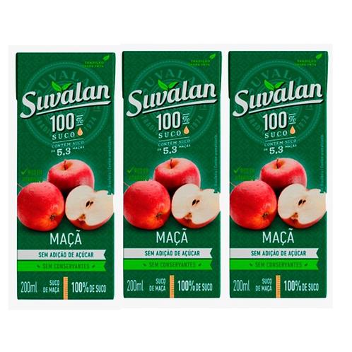 Trio de Suco Suvalan 100% suco sabor Maçã 200ml