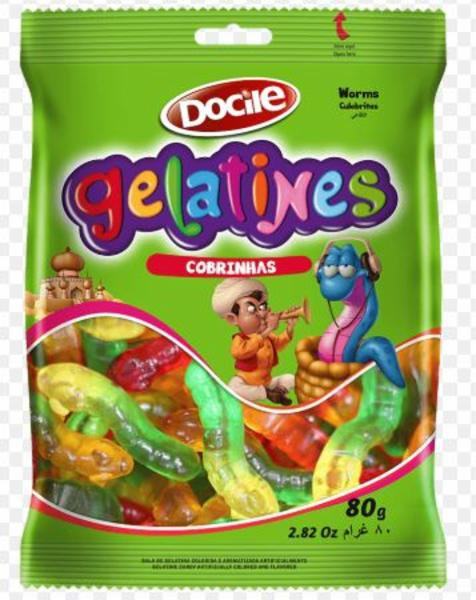 Bala Gummies Cobrinhas 80g Docile
