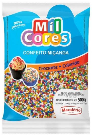 Confeito Miçanga Colorido N.0 Mil Cores 500g - Mavalério