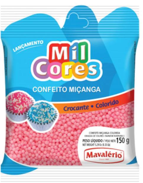 Confeito Miçanga Baby Rosa N.0 Mil Cores 150g - Mavalério