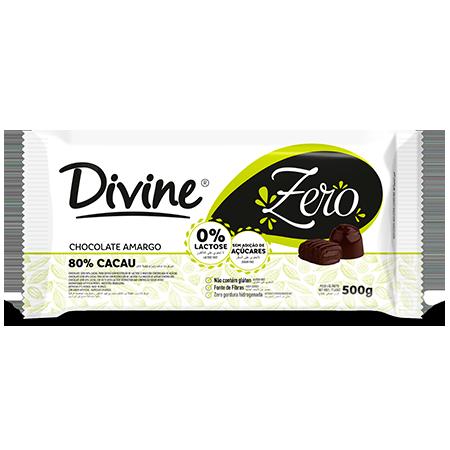 Chocolate 80% Cacau 500g Divine  - Zero Açúcar, Zero Glúten e Zero Lactose