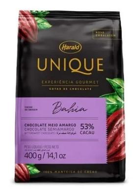 Chocolate Unique Bahia 53% Cacau em gotas 400g Harald