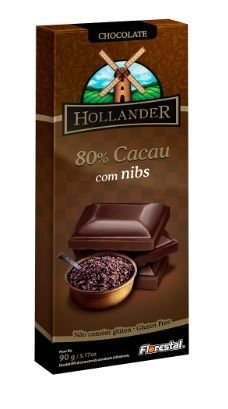 Chocolate Hollander Florestal 80% Cacau 90G