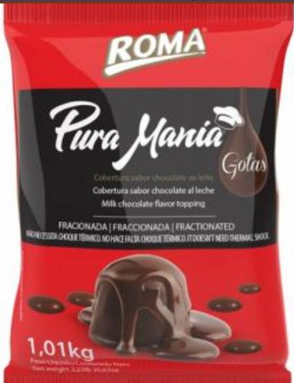 Cobertura Fracionada em gotas Ao LeitePura Mania 1,01kg Roma