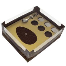 Caixa Ovo de colher Encanto Cacau  150g + Brigad. Ouro - c/ 10 un. Ideia