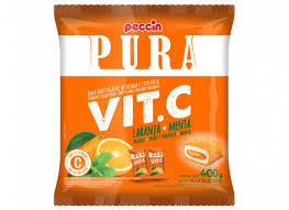 Bala Pura Vit. C Laranja + Menta 400g Peccin