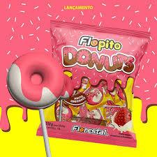Pirulito Flopito Donuts Morango/Leite Condensado 550g Florestal