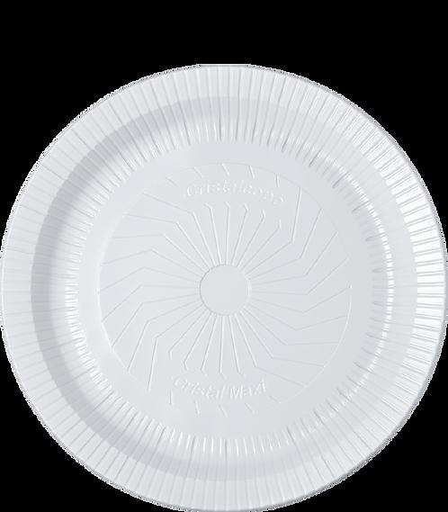 Prato plástico 26cm Raso Branco - PR26-BR - Cristalcopo - Pacote com 10 unid.