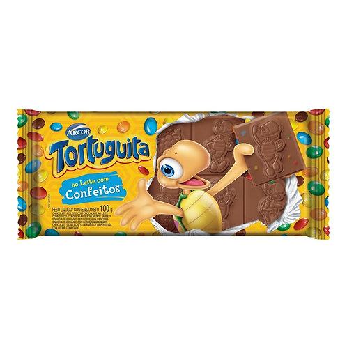 Tablete de Chocolate Ao Leite com confeitos Tortuguita Arcor 100g