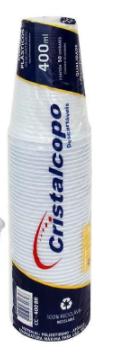 Copo Descartável CristalCopo 400ml c/50 uni  - CristalCopo.