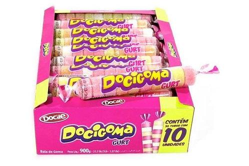Bala de Goma Docigoma Yogurte Tubo Docile Display com 30 un