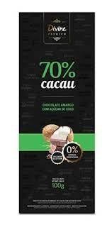 Chocolate Divine Premium 70% Cacau com Açúcar de Coco 100g