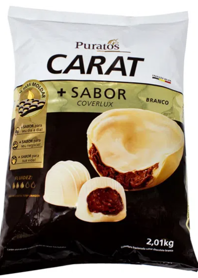 Cobertura Fracionada em gotas Carat sabor Coverlux Branco 2.01kg PURATOS