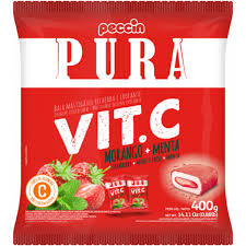 Bala pura Vit C Morango  + Menta 400g Peccin