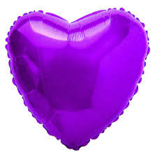 Balão Metalizado Coração Roxo - 40cm- Fanny Fashion