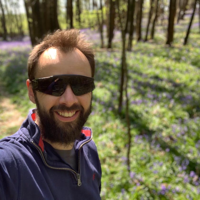 Graham in the bluebell woods
