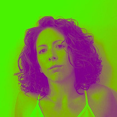 Green and purple filtered headshot of Kerrie Fuller