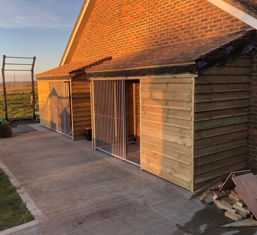 The two new kennels built from scratch by Graham