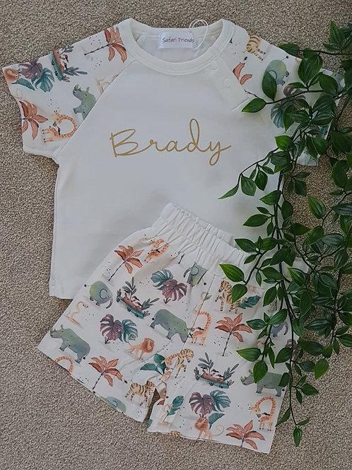 Personalised Safari Shorts and T-Shirt Set