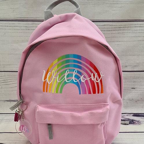 Personalised Rainbow Design Backpack
