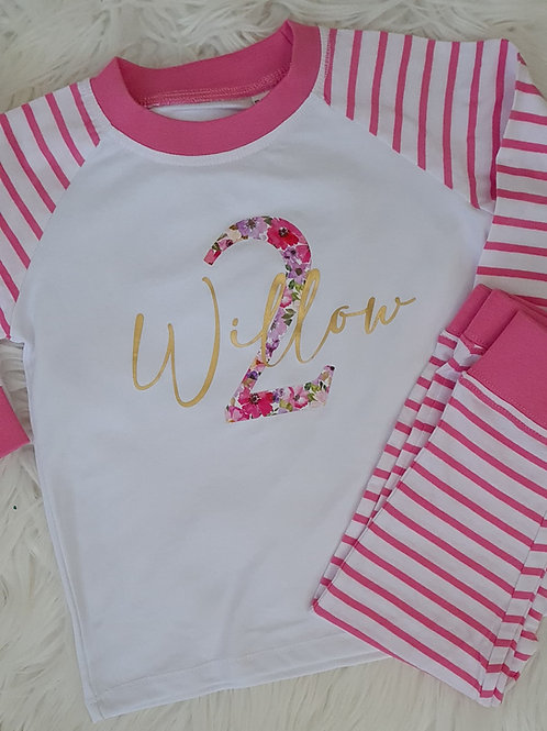Pink Stripe Birthday Pyjamas