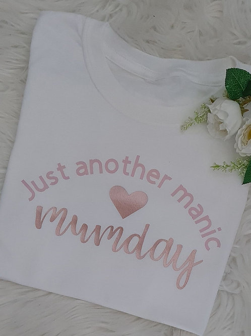 'Manic Monday' White, Pink and Rose Gold Top