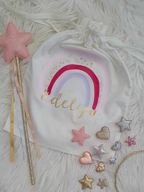 Personalised Rainbow Drawstring Bag