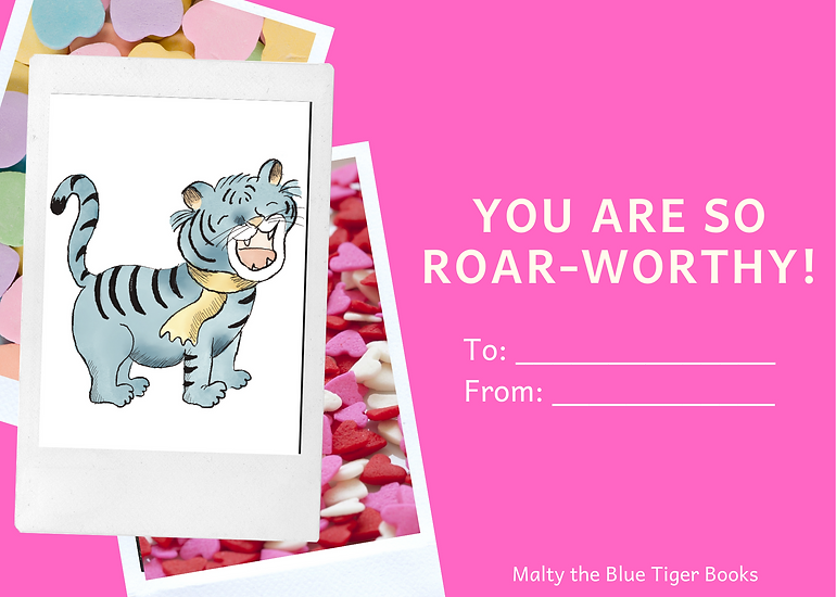 valentines day card for kids with tiger