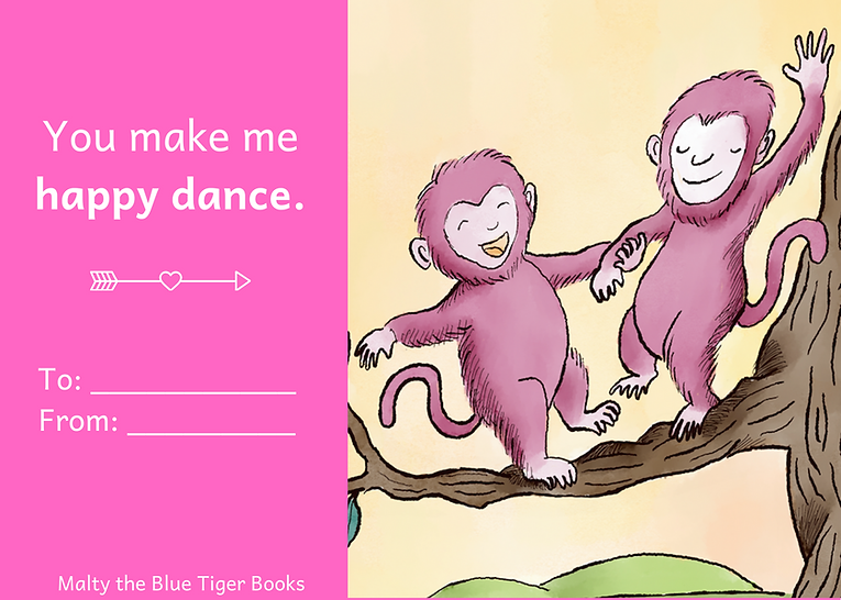 valentines day card for kids with monkeys