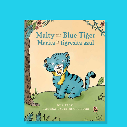 Signed & Personalized Malty the Blue Tiger Book (English/Spanish)