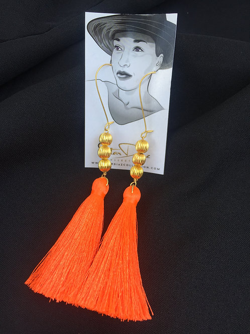 Orange Neon Tassel Earrings