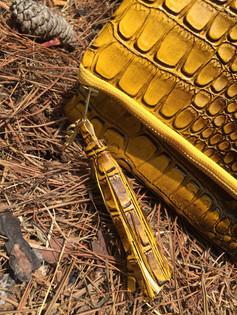 Faux Crocodile Leather Yellow Foldover