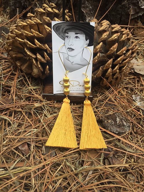 Golden Gold Tassel Earrings