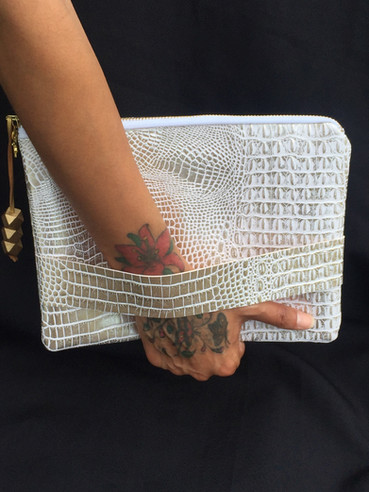 White Gold Gator Clutch