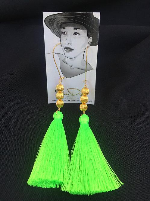 Green Neon Tassel Earrings