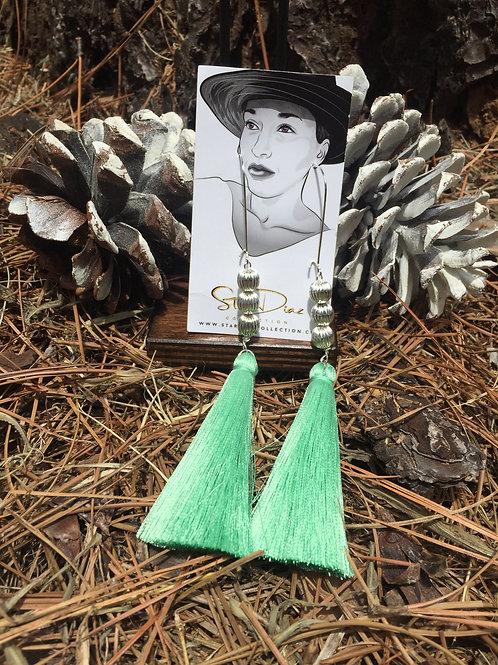 Mint Green Tassel Earrings