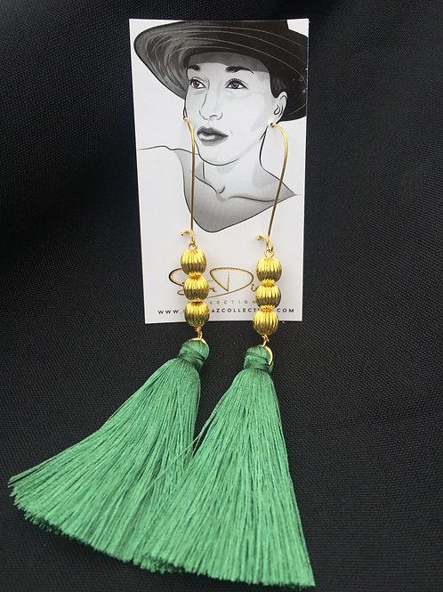 Patina Green Tassel Earrings