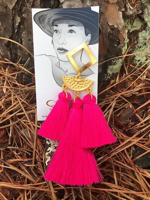 3 Tier Hot Pink Tassel Earrings