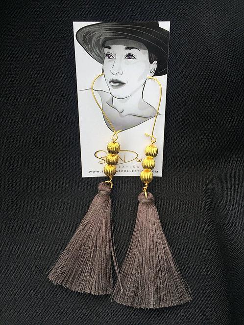 Charcoal Gray Tassel Earrings