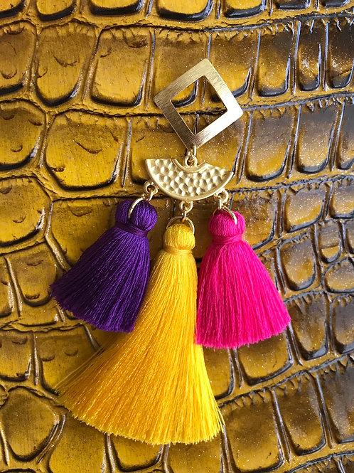 3 Tier Purple~Yellow~Pink Tassel Earrings