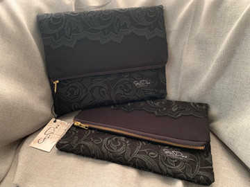 Black Lace Foldover Clutch