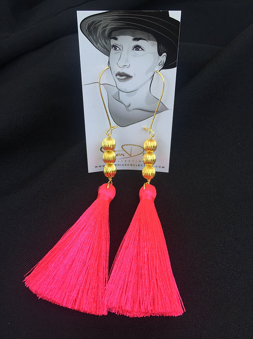 Pink Neon Tassel Earrings