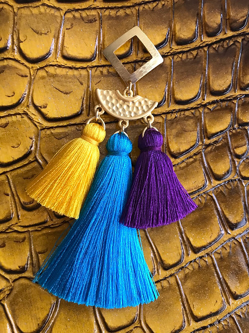 3 Tier Yellow~Blue~Purple Tassel Earrings