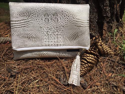 Faux Leather Crocodile Foldover