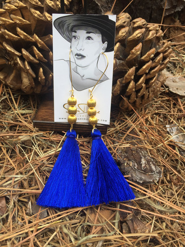 Royal Blue Gold Tassel Earrings