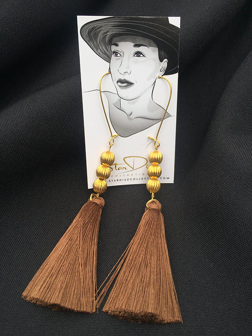 Coffee Tassel Earrings