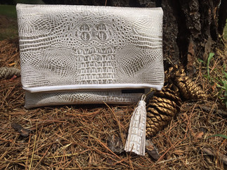 Faux Crocodile Leather White Gold