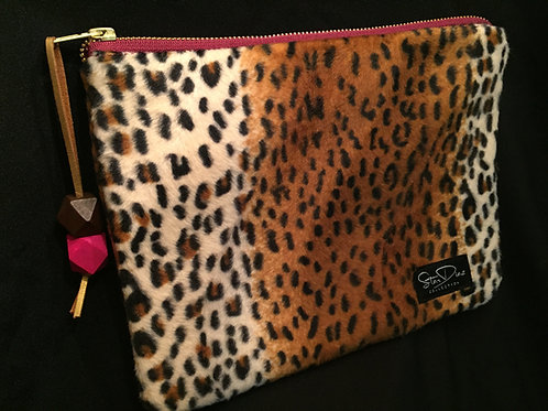 Faux Leopard Fur Clutch