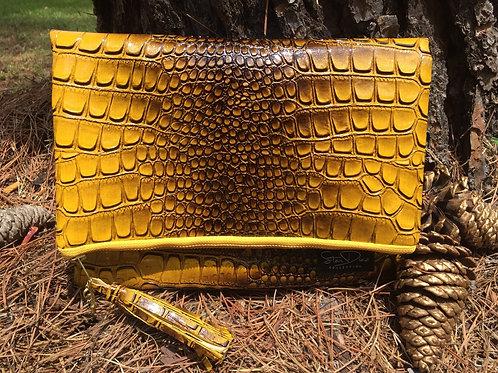 Yellow Faux Leather Crocodile Foldover