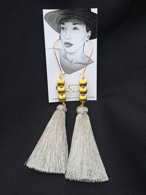 Light Gray Tassel Earrings